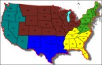 FEMA's five regions of continental USSA