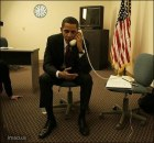obama with upside-down telephone